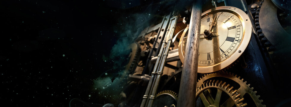 Mechanism of the old clock tower on the night sky background with stars. Philosophy image of space time dimension.