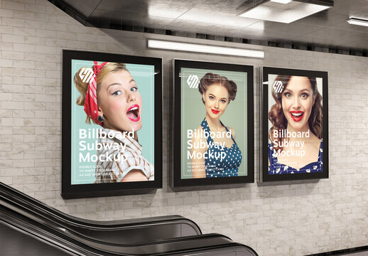Billboards on Subway Station Wall Mockup