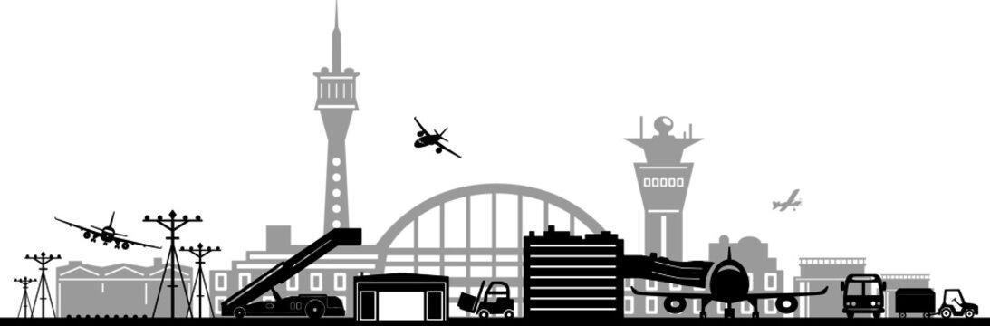 AIRPORT plane terminal silhouette vector