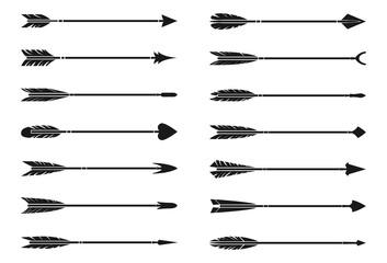 bow arrows set, hipster arrows, vintage arrow vector collection set