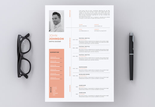 Resume Layout with Peach Accents