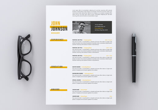 Resume Layout with Yellow Accents