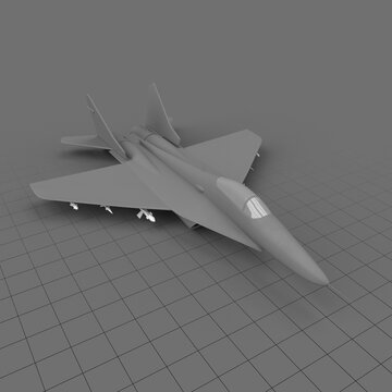 Stylized fighter jet with missiles