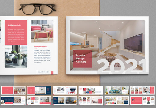 Interior Catalog Layout with Pink Accents