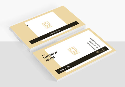 Business Card Layout with Pale Yellow Accents