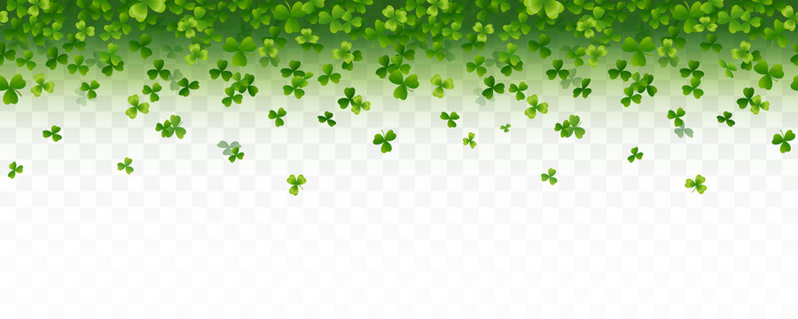 Shamrock flying leaves seamless border isolated on transparent background. Green irish symbols Good Luck banner. Vector clover pattern for Saint Patrick's Day holiday greeting card design