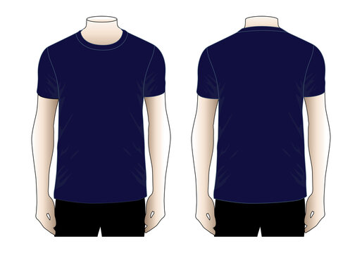 Men's Blank Navy Blue T-Shirt Vector For Template.Front And Back View.