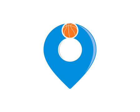 pin location form a people hold a basketball logo