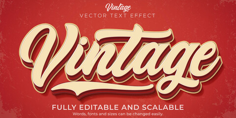 Fototapeta Retro, vintage text effect, editable 70s and 80s text style obraz