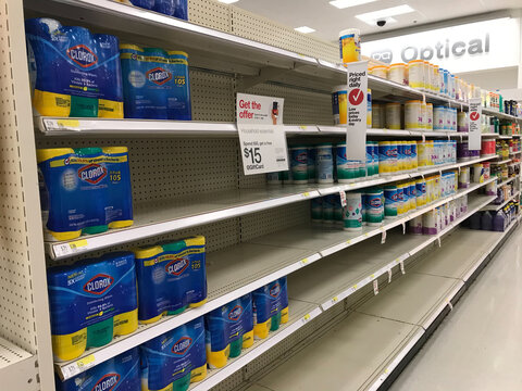 disinfecting wipes starts to get scarce on the shelves on the wake of the pandemic announcement in march 2020