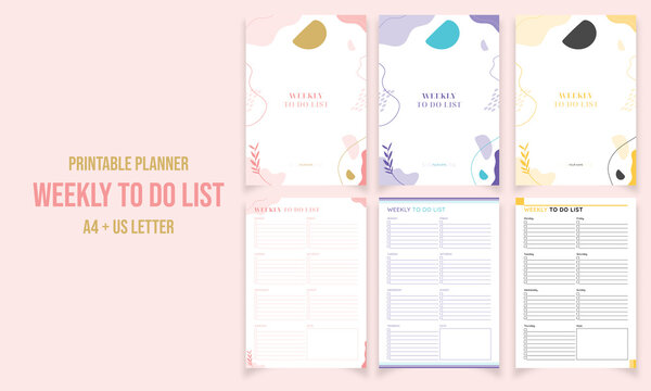 Minimalist diary, weekly to do list planner pages design collection vector template