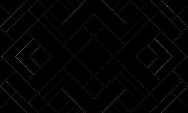 Diagonal mondrian pattern of mosaic tile. Design lines gold on black background. Design print for illustration, texture, wallpaper, background, textile. Set 3