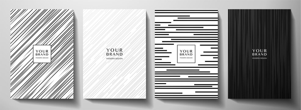 Modern white and black cover design set. Luxury creative dynamic diagonal line pattern. Formal premium vector background for business brochure, poster, notebook, menu template