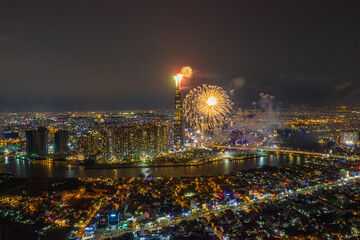 Ho Chi Minh city - Saigon cityscape with new year fireworks
