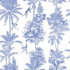 Toile tropical animals, palms tree, plant vintage graphic seamless pattern. Monkey blue botanical jungle.