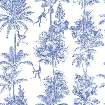 Toile tropical animals, palms tree, plant vintage graphic seamless pattern. Monkey blue botanical jungle.