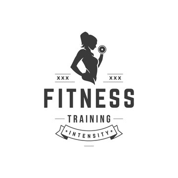 Intense fitness workout vector logo. Athletic female black silhouette lifts dumbbell strong beauty with healthy body.