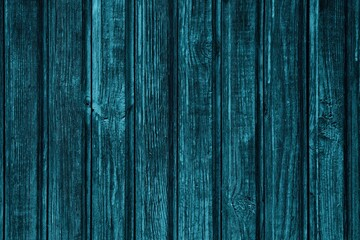 Blue painted rough wood boards rustic texture. Old shabby knotted wooden planks dark vintage background - fototapety na wymiar