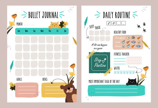 Minimalist planners. Daily, weekly, monthly planner template. Bullet Journal.   Cute and simple printable to do list. Business organizer page. Paper sheet.