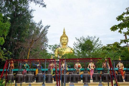 buddha statue , Golden Buddha, Arak deities, bells in a row