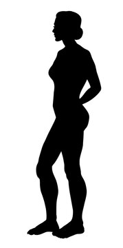 The female silhouette stands sideways. Vector drawing