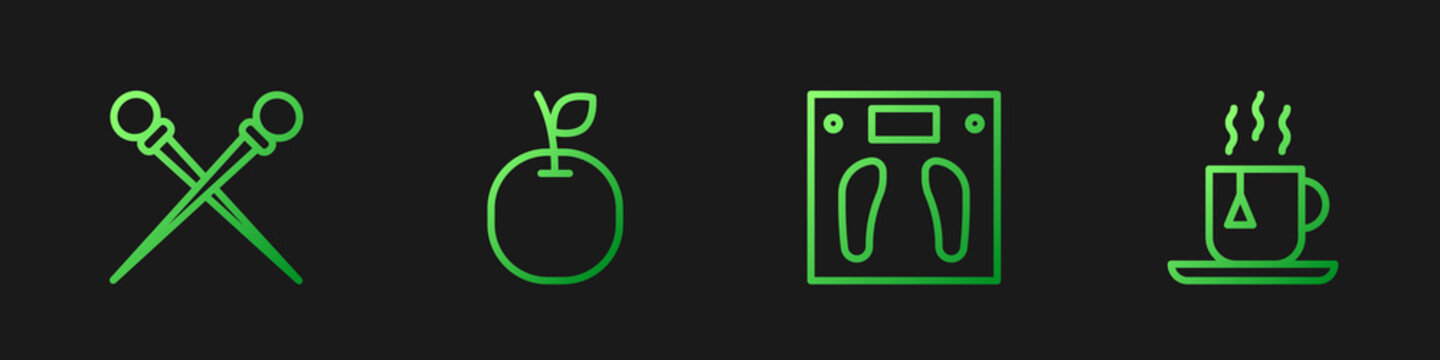 Set line Bathroom scales, Knitting needles, Apple and Cup of tea with tea bag. Gradient color icons. Vector.