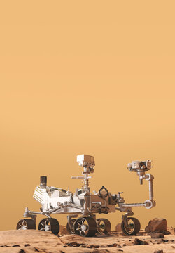 Mars Rover Perseverance exploring the red planet. Exploration mission in 2021. Rocky soil and dense, sandy atmosphere. Some elements of this image furnished by NASA. 3d rendering