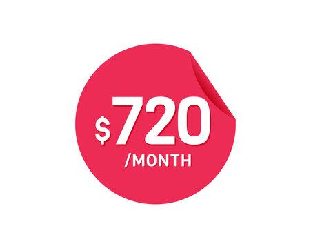 $720 Dollar Month. 720 USD Monthly sticker