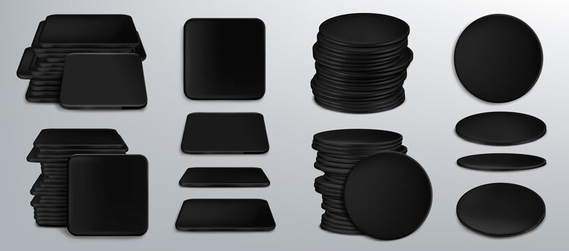 Black coasters for beer cups or tankards 3d set
