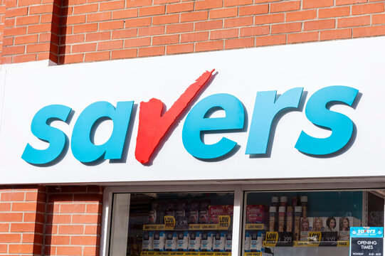 Swansea, Wales, UK, February 24, 2017 : Savers advertising logo sign outside the entrance to one of their business retail stores in the city centre, stock photo image