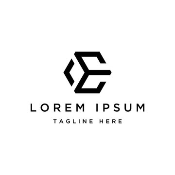 monogram logo design, lettermark initial  letter E with hexagon