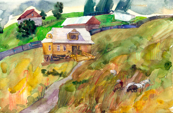 watercolor landscape sheep from a mountain village plant in a meadow