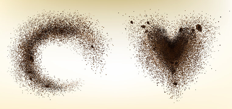 Explosion of coffee bean and powder in heart shape