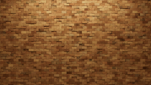 Wood Block Wall background. Mosaic Wallpaper with Light and Dark Timber Rectangle tile pattern. 3D Render