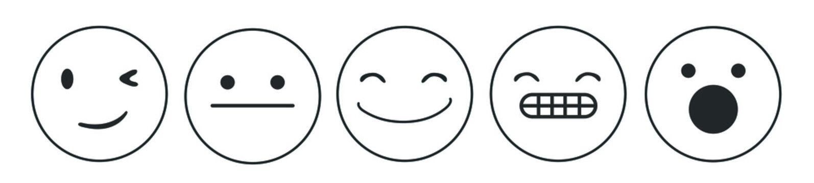 Iconic illustration of satisfaction level. Range to assess the emotions of your content. Feedback in form of emotions. User experience.