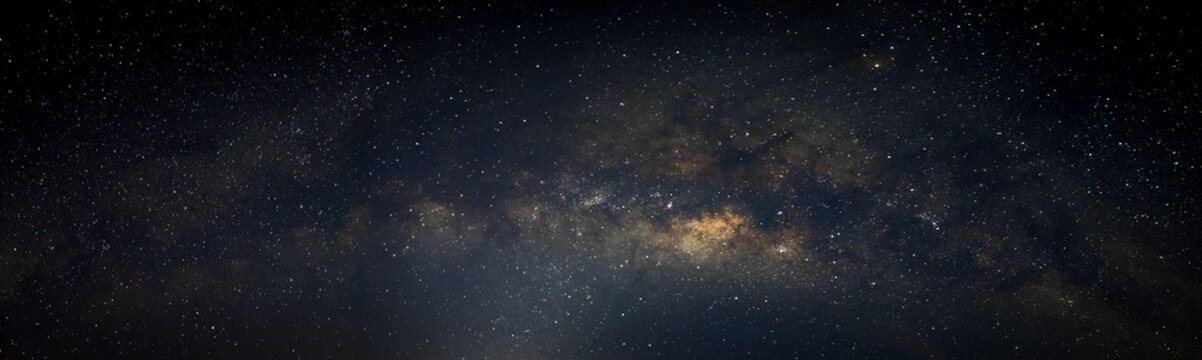 Panorama deep blue night sky milky way and star on dark background.with noise and  grain.Photo by long exposure and select white balance.