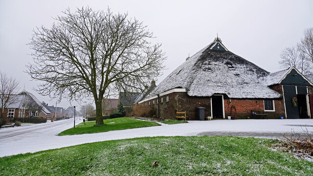 Traditional snowy farm house in winter in the countryside from the Netherlands
