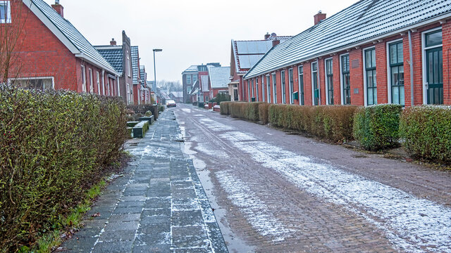 Traditional old dutch street in winter in the Netherlands
