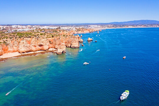 Aerial from the coast line near Lagos in the Algarve Portugal