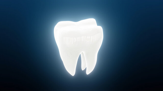 3d illustration of Whitened Looking Dental Tooth Rotating. High quality photo