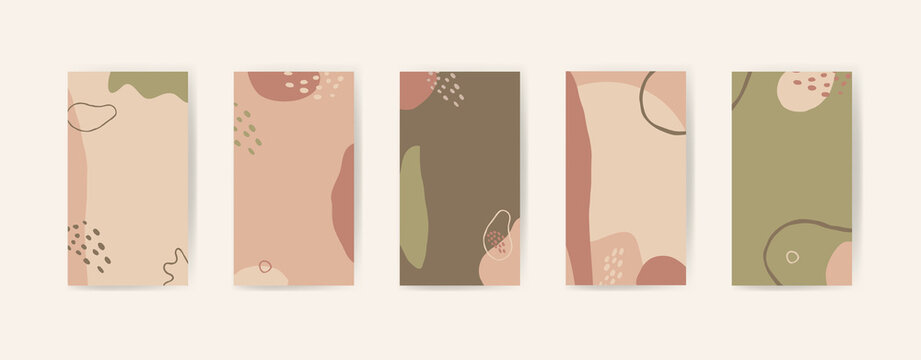 Vector editable abstract artistic creative story templates for social media marketing, phone screen proportions. Vintage fluid organic shapes in neutral colors. Insta stories templates with copy space