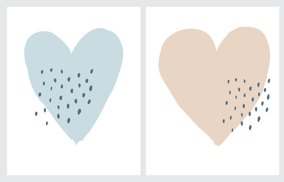 Cute Pale Blue and Light Beige Hearts Isolated on a White Background. Funny Hand Drawn Valentine's Day Party Vector Illustration ideal for Kids Room Decoration, Card, Poster. Romantic Wall Art.