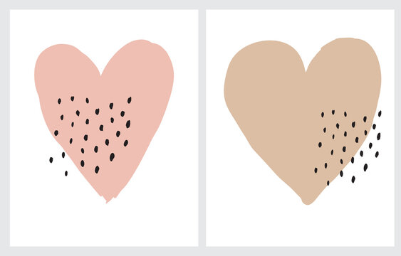 Cute Dusty Pink and Caramel Brown Hearts Isolated on a White Background. Funny Hand Drawn Valentine's Day Party Vector Illustration ideal for Kids Room Decoration, Card, Poster. Romantic Wall Art.