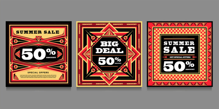 Summer Big Sale 50% discount banner and poster design template for social media with propaganda design style