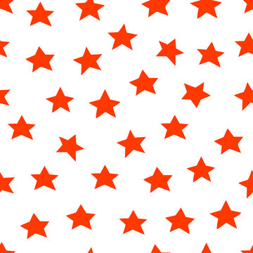 Cute hand drawn red stars. Vector modern red 23 february seamless pattern background.