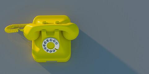 Fototapeta Retro telephone, yellow old phone on grey background, copy space. 3d illustration