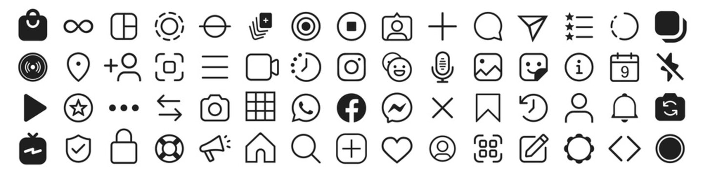 Set of Instagram icons for social media