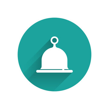 White Sauna hat icon isolated with long shadow. Green circle button. Vector.