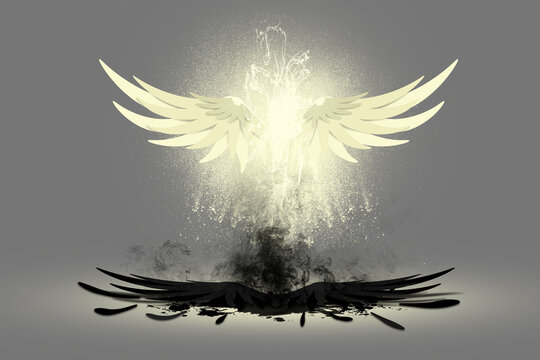 White angle wings glowing in air above defeated black demon wings