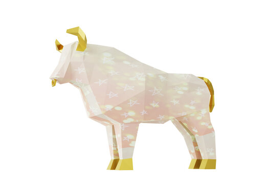 Low Poly Light Pink Bull with stars, folded paper animal figurine, 3d render